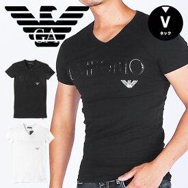 EMPORIO ARMANI エンポリオ アルマーニ Vネック 半袖 Tシャツ メンズ EALOGO STRETCH COTTON かっこいい おしゃれ 綿 ブランド 男性 プレゼント プチギフト 誕生日プレゼント バレンタイン 彼氏 父 ギフト 記念日