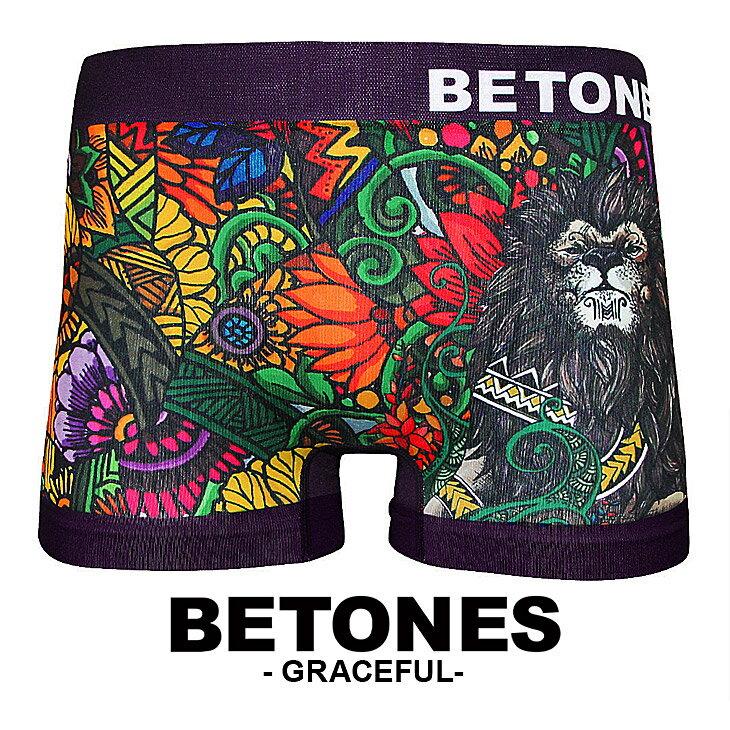 【ラッピング無料】BETONES/ビトーン メンズ ボクサーパンツ 下着 GRACEFUL アニマル ボタニカル フラワー ライオン オシャレ かわいい 水着インナー 誕生日プレゼント 彼氏 父 男性 旦那 ギフト