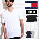 【50%OFF】【3枚セット】トミーヒルフィガー Tシャツ メンズ 半袖 Vネック トップス カットソー アンダーシャツ TOMMY HILFIGER Classic Fit 3枚組 セット ロゴ 無地 ブランド プチギフト 誕生日プレゼント クリスマス 彼氏 父 男性 ギフト 記念日 おしゃれ SS1912H