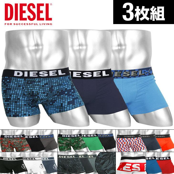 【3枚セット】DIESEL/ディーゼル ボクサーパンツ メンズ 下着 無地 チェック ボタニカル ワンポイント ブランド ロゴ DIESEL PRINT 3枚組 セット 誕生日プレゼント 彼氏 父 男性 ギフト