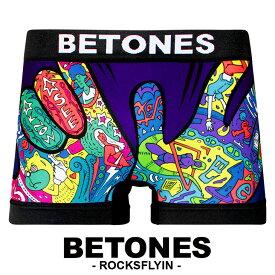 BETONES/ビトーンズ ボクサーパンツ メンズ 下着 ROCK IN FLY プリント シームレス 立体成型 フリーサイズ プチギフト 誕生日プレゼント 彼氏 父 旦那 ギフト 送料無料 水着インナー 記念日 おしゃれ