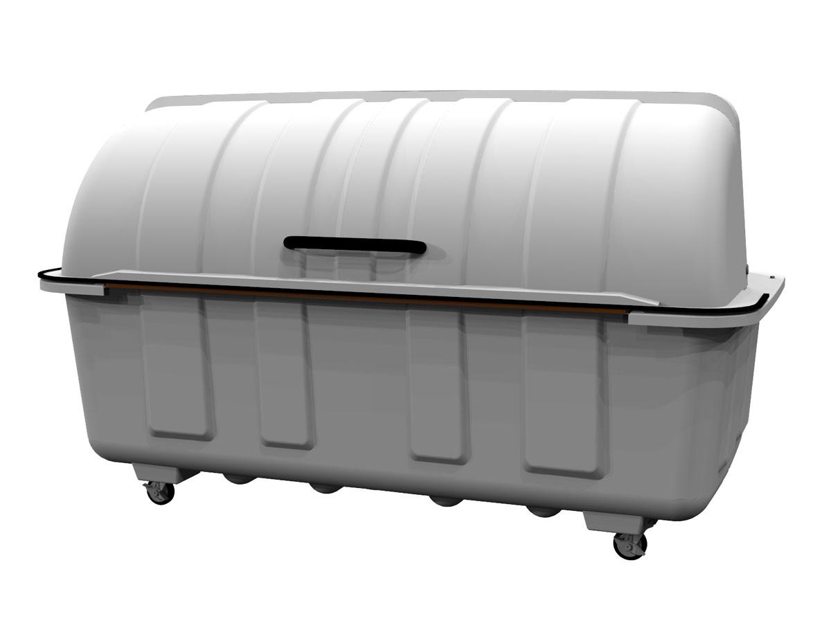 カイスイマレン ジャンボステーションJ2000C(キャスター付き)【容量2000L 45Lゴミ袋44個相当 約29世帯 大型ゴミ箱 ゴミステーション FRP製 キャスター付き グレー】