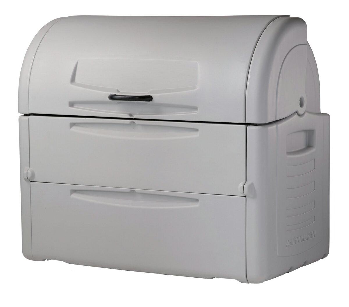 カイスイマレン ジャンボペールPE1000K(固定足)【容量1000L 45Lゴミ袋22個相当 約15世帯 大型ゴミ箱 ゴミステーション プラスチック製 固定足 ライトグレー】