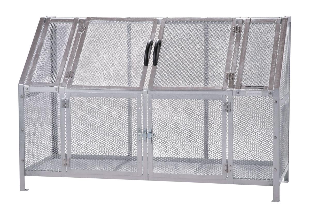 カイスイマレン ジャンボメッシュST1100(ST-1100)お客様組立品【容量1200L 45Lゴミ袋26個相当 約17世帯 大型ゴミ箱 ゴミステーション スチール製 シルバー】