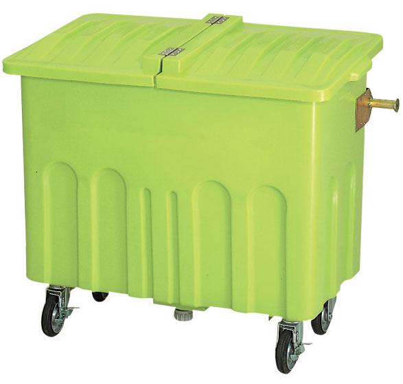 カイスイマレン エコカートP600本体+P600Fフタセット【容量600L 集積搬送カート ごみ回収 ゴミ回収 ダンボール回収 プラスチック製 キャスター付き ライトグリーン】
