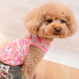CRAZYBOO / クレイジーブー花柄ワッペンタンクトップXL / DLサイズ犬服 / 犬の服/ ドッグウェア春夏コレクション