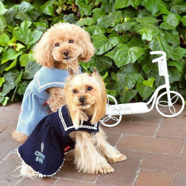 リブニットセーラーワンピースXS / S / M / LサイズCRAZYBOO / クレイジーブー犬服 / 犬の服/ ドッグウェア