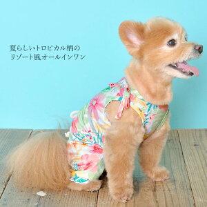 CRAZYBOO/クレイジーブーハワイアンオールインワンXS/S/M/Lサイズホワイト/小型犬/チワワ/ヨークシャーテリア/シーズー/マルチーズ/プードル犬服/犬の服/ドッグウェア春夏コレクション