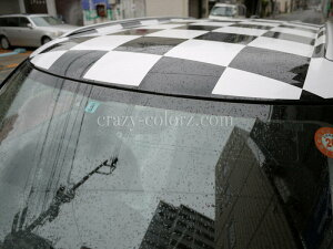 BMWMINIミニクーパーR53&R56ルーフチェッカーフラッグチェックデカールステッカー