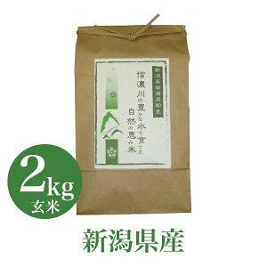 お米 2Kg コシヒカリ 信濃川の豊かな水で育てた自然の恵み米 玄米 贈答 産地直送 送料無料 のし対応 高級 お祝い お取り寄せ 人気 グルメ 父の日 2021 ギフト 食べ物 プレゼント