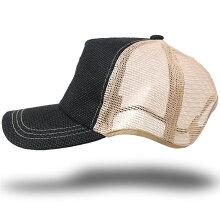大きいサイズ帽子メンズ無地ヘンプラウンドCAPBIGWATCHブラック/ベージュ