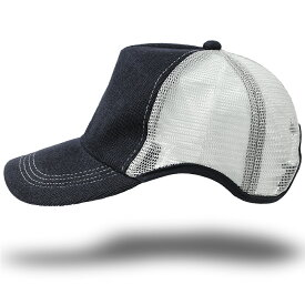 大きいサイズ メンズ 帽子 L XL 無地ヘンプMIX ラウンドキャップBIGWATCH ネイビー/グレー キャップ ビッグサイズ スポーツキャップ ダメージ加工無し CPR-19 春 夏 秋 UVケア