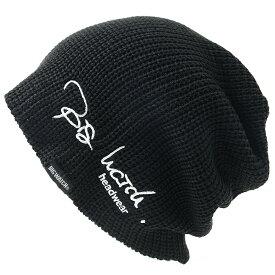 大きいサイズ メンズ 帽子 L XL 刺繍 ラージスケール BIGWATCH ビッグワッチ 正規品 ブラック 黒 ニットキャップ ルーズ ニットワッチ ニット帽子 Lサイズ ST-06 春 秋 冬