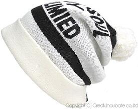 大きいサイズ メンズ 帽子 L XL BB-02 ボンボン付き ロングBIGWATCH ホワイト×ブラック(BB-02) ルーズ ボンボン ニット帽 Lサイズ 春 秋 冬/ビッグワッチ