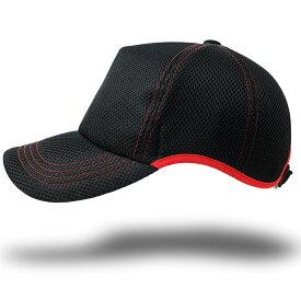 帽子 大きいサイズ L XL ゴルフ 無地ラウンド メッシュキャップ BIGWATCH 黒ブラック レッドステッチ ビッグサイズ ビッグワッチ スポーツキャップ ウォーキング ランニング CPMG-07R 春 夏 秋 UVケア