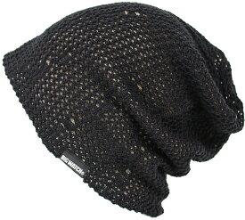 大きいサイズ メンズ 帽子 L XL ダメージメッシュ リバーシブル BIGWATCH正規品 ブラック ベージュ黒ベージュ ニットキャップ クラッシュ ロック系 ルーズ ニット帽 DM-02 春 秋 冬/ビッグワッチ