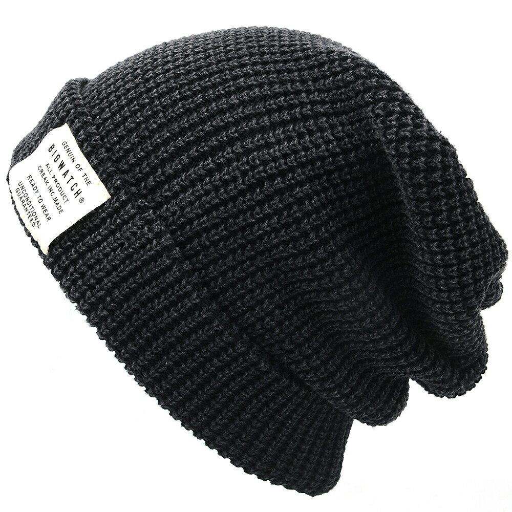 大きいサイズ メンズ 帽子 L XL ワンウォッシュ ロング ラージスケール ニット ビッグワッチ BIGWATCH ブラック 黒 ローゲージ ニットキャップ ルーズ ニットワッチ ニット帽 ざっくり編み ウォッシュ加工 コットン100% LG-02 春 秋 冬