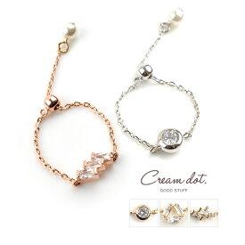 【ゆうパケット送料無料】リング チェーンリング 指輪 レディース 重ね着け シルバー ゴールド ピンクゴールド 細身 華奢リング 結婚式 大人可愛い ファランジリング キュービックジルコニア chain-ring