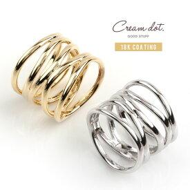 【ゆうパケット送料無料】リング 指輪 18kコーティング レディース ワイドリング 14号 ファッションリング メタル 透かしデザイン 多重 大人カジュアル シンプル 可愛い ゴールド シルバー