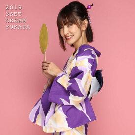 【500円OFFクーポン配布中】大人カラー紫地3点SET浴衣