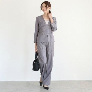 フロントボタンジャケットパンツスーツ