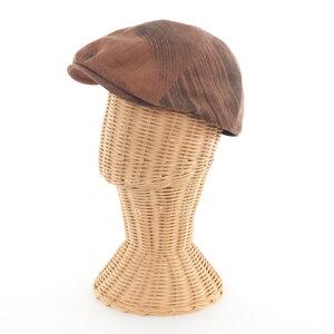 柿渋染 日本製 メンズ 父の日 プレゼント 帽子「エッグハンチング」 手描き_KSB-8Ta  ピンクベージュ キャメル ブラウン 茶 茶色 キャンバス コットン 浴衣 着物 和装 和柄 上品 軽い カジュア