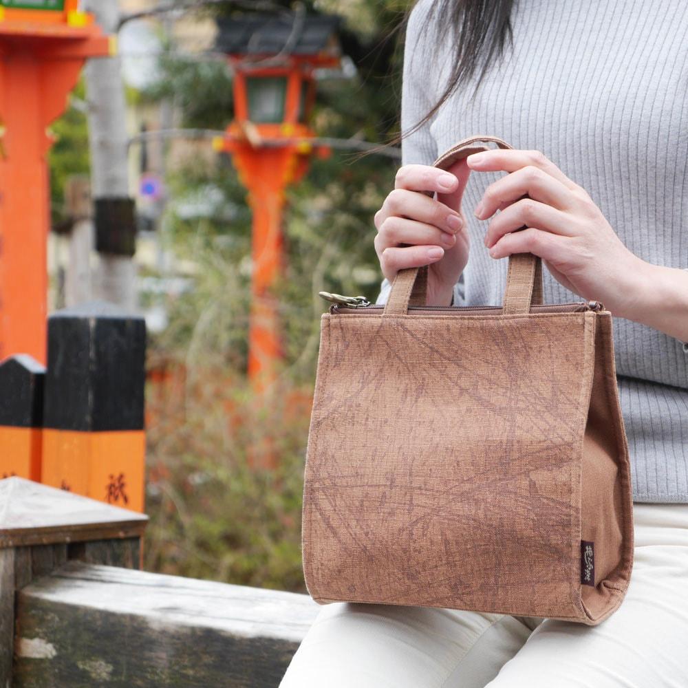 柿渋染 日本製 トートバッグ レディース ミセス 着物「2FP 手提げ」軽い 軽量 旅行 京都 帆布 バッグ 鞄