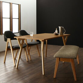 北欧モダンデザインダイニング ILALI イラーリ 4点セット(テーブル+チェア2脚+ベンチ1脚) W140 ダイニング リビングダイニング テーブル 長方形 チェア 椅子 高級感 家族 新生活 お洒落 天然木 500042608 TU500042608