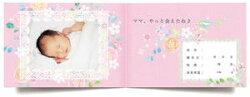 アルバムエコー写真『10ツキ10カものがたり・フラワー』がんばったママとベビーに贈る誕生の物語エコー写真アルバムベビー出産祝いラッピング無料