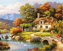 大人の塗り絵 絵画 油絵塗り絵 数字塗り絵 油絵風 川と小さな家 名画 【油絵】アクリル絵の具 塗り絵 大人 油絵 油絵…