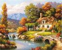 数字塗り絵 油絵風 川と小さな家 名画 【油絵】アクリル絵の具 塗り絵 大人 油絵 楓景 油絵セット キャンバス 壁デコ …
