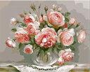 油絵塗り絵 【油絵】ピンク椿【油絵セット】DIY絵 キャンバス 油絵の具 大人の塗り絵 絵画 (油絵) 高級プレゼント 壁…