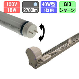 40W・1灯用シャーシ型器具とLED蛍光灯 放熱耐性 40W形 2700lm 昼光色