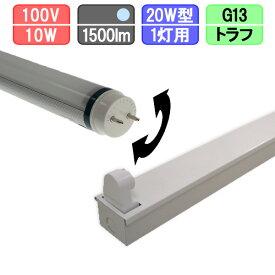 20W・1灯用トラフ型器具とLED蛍光灯 角度可変 高輝度 20W形 1500lm 昼光色