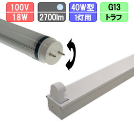 40W・1灯用トラフ型器具とLED蛍光灯 放熱耐性 40W形 2700lm 昼光色