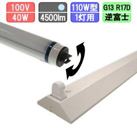 110W・1灯用逆富士型器具とLED蛍光灯 角度可変 110W形 4500lm 昼光色