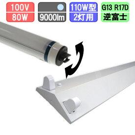 110W・2灯用逆富士型器具とLED蛍光灯 角度可変 110W形 4500lm×2本 昼光色