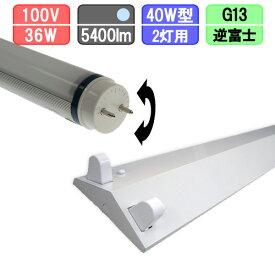 40W・2灯用逆富士型器具とLED蛍光灯 放熱耐性 40W形 2700lm×2本 昼光色