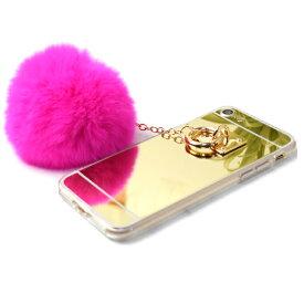 iPhone8 iPhone7 iPhone6 6s ファー ボンボンゴールド 鏡面仕上げ ファー チャーム iPhoneケース ポンポン ハードケース iPhone7 ケース カバー iPhoneケース ふわふわ ミラー もふもふ スマホケース かわいい 冬 メール便 送料無料 1000円