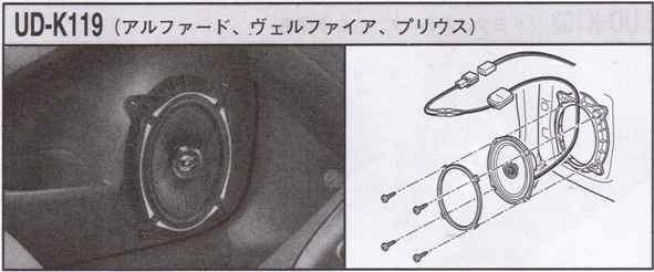 スピーカー取付キット UD-K119 【アルファード/ヴェルファイア/プリウス用】