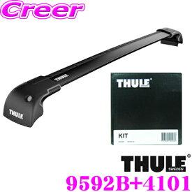 THULE スーリー スバル GTE インプレッサXV XV用 ルーフキャリア取付2点セット ウイングバーエッジブラック9592B&キット4101セット