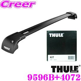 THULE スーリー レクサス URJ201W LX (ダイレクトルーフレール付)用 ルーフキャリア取付2点セット ウイングバーエッジ(ブラック)9596B&キット4072セット
