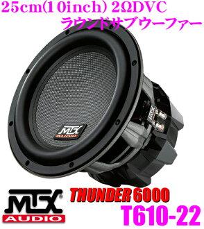MTX Audio THUNDER 6000 T610-22 2ΩDVC 최대 입력 900 W 25 cm라운드 서브우퍼