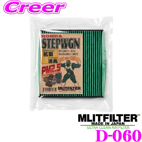 MLITFILTER エムリットフィルター D-060 ホンダ RK系/RG系 ステップワゴン専用エアコンフィルター 純正品番:80292-SLJ-003/80292-SFY-003
