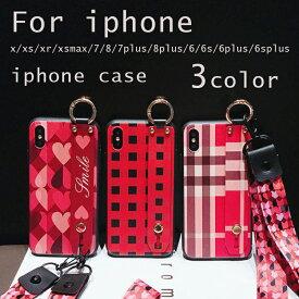 iPhoneケース スマホケース アイフォン スマホ スマートフォン iPhone Xs iPhone X iPhone Xr Xs Max iPhone 7 iPhone 8 6 6s Plus ソフトケース スタッド ベルト付き ストラップ リング付き ストラップホール ハート柄 チェック柄 ストライプ レディース 軽い おしゃれ