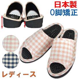 健康サンダル レディース O脚防止サンダル カラーチェック 婦人用フィットサイズ 約24cmまで 日本製 職人 O脚 矯正 足ツボ 健康 サンダル