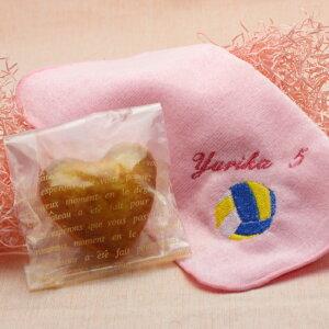 ボールマーク+お名前刺繍入りタオルハンカチとハート型マドレーヌセット