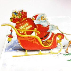creve 3D 立体 ポップアップ グリーティング カード クリスマスカード サンタとトナカイ かわいいイラスト付 クリスマスシール付属