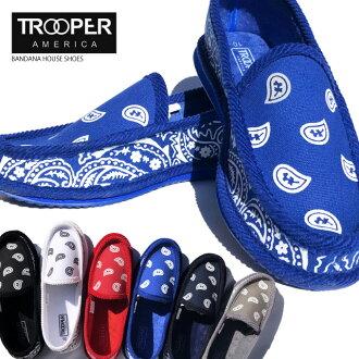 TROOPER房屋鞋二湯汁標準打數懶漢鞋墨西哥裔美國人低底盤汽車房鞋PAISLEY BANDANA HOUSE SHOES WESTCOAST HIPHOP