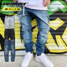 【L〜4XL】 VICTORIOUS 【ストレッチ デニムジョガーパンツ】 ウォッシュ デニム ロングパンツ ヴィクトリアス 伸縮 イージーパンツ ジョガパン JOGGER PANTS USサイズ メンズ ズボン 大きいサイズ L LL 3L 4L 5L ビッグサイズ